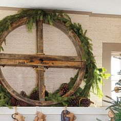 Get The Look: Rustic-Casual Christmas | Large-Scale Vintage Wheel | SouthernLiving.com