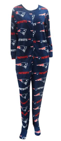 New England Patriots Ladies Onesie Footie Pajama Show your team spirit!  This cozy microfleece footie pajama for women features . adcb91be5