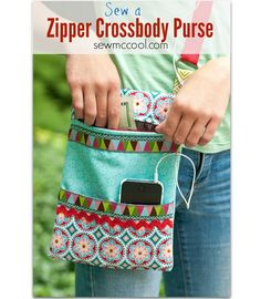 Tutorial: Cross body zippered purse with a phone pocket - Sewing
