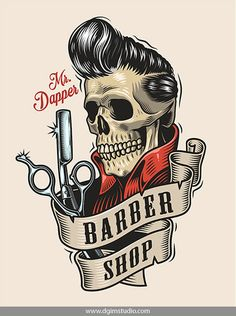 Vintage colorful Barber Shop T-shirt Design with a skull with great haircut, scissors and a razor. Best Barber Shop, Barber Shop Decor, Barber Shop Vintage, Barber Logo, Barbershop Design, Barbershop Ideas, Mode Kimono, Rock Poster, Great Haircuts