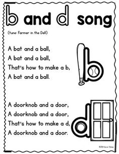 b and d Reversal Song - p and q Reversal Song by Mrs Stamp's Kindergarten Kindergarten Anchor Charts, Kindergarten Songs, Preschool Songs, Kindergarten Reading, Preschool Learning, Kindergarten Classroom, Teaching Reading, Reading School, Preschool Letters
