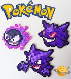 Pokemon Perler Beads Sprites Set - Gastly, Haunter and Gengar