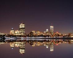 16x20 PRINT Boston Skyline Reflection Night by ScottsArts on Etsy, $24.99