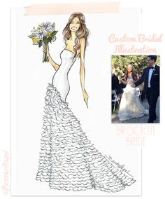 Custom Bridal Illustration-Wedding Gifts-Bridal sketch- by-Brooke Hagel