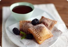 Hot and Crispy Blackberry Ravioli with Chocolate Fondue