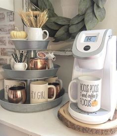 DIY coffee station / coffee bar ideas - love th. - DIY coffee station / coffee bar ideas - love th. First Apartment, Apartment Living, Living Room, Apartment Design, Apartment Goals, Apartment Bar, Apartment Bedrooms, College Dorm Rooms, College Tips