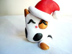 Calico Cat Ornament Polymer Clay Calico Fat Cat by MagicalGifties