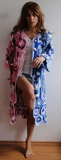 Freeform crochet hippie coat  fantasy boho jacket  any door GlamCro, $2000.00