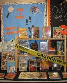 Mystery Books Display - Hills Elementary Library, Iowa