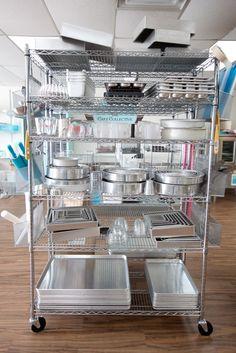 Baking equipment pastry shop interior, bakery interior, home bakery, bakery shops, bakery Baking Storage, Baking Organization, Bakery Decor, Bakery Ideas, Bakery Shop Design, Bakery Interior Design, Home Bakery Business, Commercial Kitchen Design, Bakery Store
