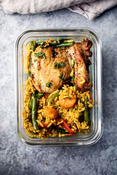 Incredibly flavorful yellow curry chicken and rice made in one pot with plenty of veggies and delicious flavors from coconut milk, ginger, garlic and turmeric. Great for meal prep!