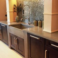 Concrete countertops can look like wood, stone or brick, by using various stains, pigments, aggregates and coatings.
