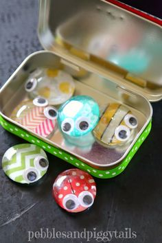 How to reuse your Altoid tins into cute little bug craft toy called Buggles.  Buggles are fun for kids to make, trade, and travel with.