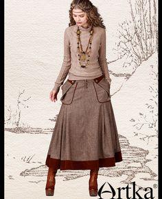 Юбки : Утепленная юбка в стиле бохо с заниженной талией и большими накладными карманами по бокам
