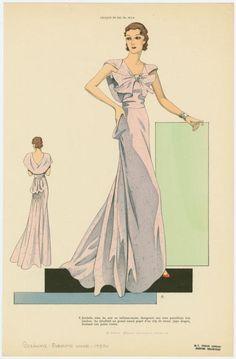 Juvénile robe du soir en taffetas-moire changeant aux tons pastellisés très tendres. (193-)