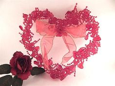 Heart Wreath Red Acrylic Beads Red Bow Valentines Day Wall Hanging Home Decor