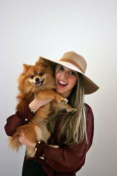cute puppy pomeranian, hats, burgundy sheer shirt