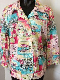 Christopher & Banks Size XL Multi Color 3/4 Sleeve Button Jacket Vacation Scene #ChristopherBanks #BasicJacket