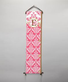 Take a look at this Pink Damask Personalized Growth Chart by BronStar Originals on #zulily today!