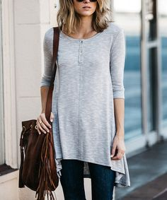 Loving this Gray Play It Loose Button-Front Tunic on #zulily! #zulilyfinds