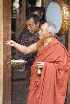 Blessing the villagers . Bhutan