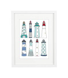 Happisburgh Lighthouse Watercolour Print A5 Greeting Cards Seaside Coast