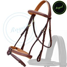 Royal Full Padded Anatomic Head Piece Bridle with U Shaped Detachable Flash & Reins. Regular price $108 Sale price $88 (Oak Brown/ Brass Buckle)