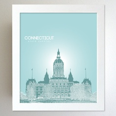Connecticut Skyline State Capitol Landmark - Modern Gift Decor Art Poster 8x10. $20.00, via Etsy.