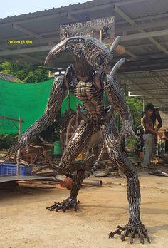 alien statue/sculpture, lifesize scrap metal art from Thailand