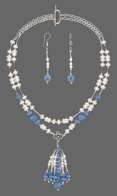 Jewelry Design - Double-Strand Necklace and Earring Set with Swarovski Crystal, White Lotus™ Cultured Freshwater Pearls and Liquid Silver-Finished Brass Beads - Fire Mountain Gems and Beads