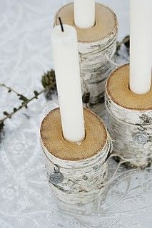 Birch candle holders--OR--the crafter in me is thinking 'Hmm--the right gift wrap and some chunky tree limbs with holes, a little jute string and white candles. Christmas Night, Christmas Holidays, Christmas Crafts, Christmas Decorations, Christmas Candles, Wood Block Crafts, Deco Nature, In Natura, Wood Candle Holders