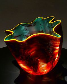 "Dale Chihuly blown glass art: Firefly Macchia, 8""x8""x8"""