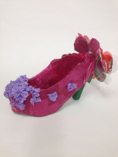 Phoebe, Y9 card and tissue paper Surreal Shoe model. St Mary's Catholic High School