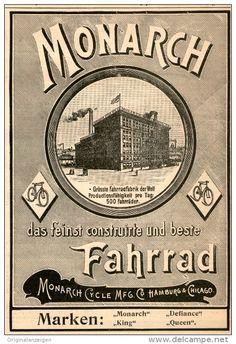 Original-Werbung/Inserat/ Anzeige 1899 - MONARCH FAHRRÄDER - ca. 135 x 200 mm