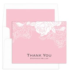 Light Pink Woodcut Roses Thank You Note Cards
