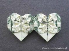 Dollar Bill Origami Heart   Dollar Money Origami 2 HEART Great Oragami Gift Idea! $