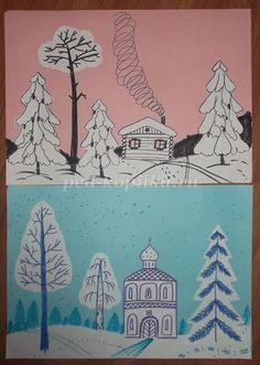 изо 2 класс зима поэтапное рисование: 10 тыс изображений найдено в Яндекс.Картинках