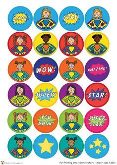 Teacher's Pet - Superhero Stickers - FREE Classroom Display Resource - EYFS, KS1, KS2, stickers, superheroes, super, hero, heroes, rewards, ...