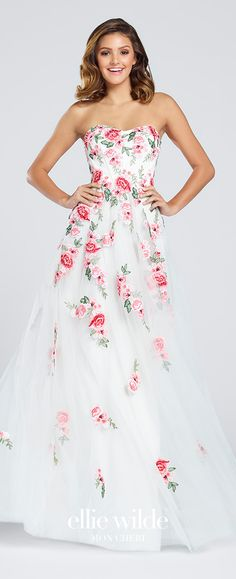 Prom Dresses 2017 - Ellie Wilde for Mon Cheri - strapless tulle floral prom dress - Style No. EW117027