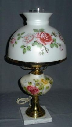 Victorian Style Hurricane Lamps | ... Pastel Roses Opaque White Electric Table  Lamp Vintage