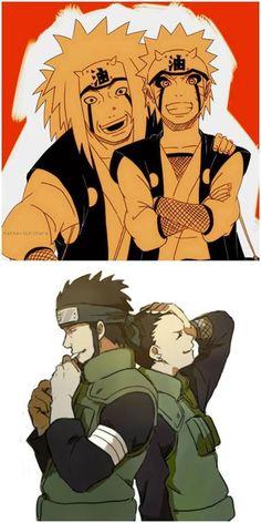 Jiraiya and Naruto/ Asuma and Shikamaru
