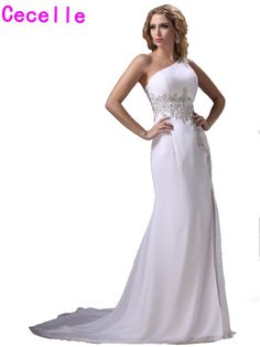 White One Shoulder Long Evening Dresses With Train Mermaid Sexy Split  Beaded Lace Elegant Women Formal 7463ed716056