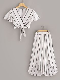 To find out about the Surplice Neck Stripe Top & Split Wide Leg Pants Set at SHEIN, part of our latest Two-piece Outfits ready to shop online today! Girls Fashion Clothes, Teen Fashion Outfits, Barbie Clothes, Girl Fashion, Girl Outfits, Fashion Sets, Fashion Dresses, Fashion Blouses, Cute Casual Outfits