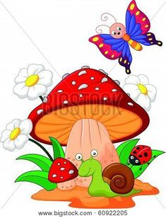 Stock vector of 'Vector illustration of Small animal cartoon' Diy And Crafts, Paper Crafts, Mushroom Art, Cute Clipart, Cute Illustration, Fabric Painting, Classroom Decor, Rock Art, Cute Drawings