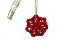 Large red flower pendant necklace by MarmaladePark on Etsy