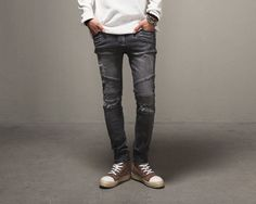 28.80$  Watch here - http://alieo4.shopchina.info/1/go.php?t=32796552714 - Selling Biker Jeans Paris Catwalk Shows Stretch Gray Men Jeans Washed Retro Slim Biker Jeans Balmai Jeans Men Skinny Jeans Mens 28.80$ #aliexpresschina