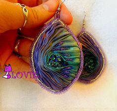 Earrings COMET with shibori silk por PurpleFoxLOVIK