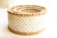 crochet pattern: jute and cotton stacking baskets