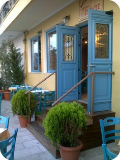 "lovely fachade of the restaurant ""Ston Ponte"" on the western side of the town"