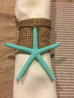 Starfish Napkin Ring - Burlap & Starfish Napkin Ring - Coastal Table Decor - Beach Wedding - Reception Table - Nautical Decor - Shell Decor by LiveLaughLoveOcean on Etsy https://www.etsy.com/listing/218038449/starfish-napkin-ring-burlap-starfish
